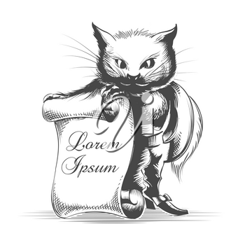 Puss in Boots with Empty Scroll  drawn in engraving style. Vector illustration.