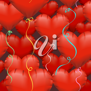Seamless pattern with Red Heart Shaped Helium Balloons in realistic style. Vector illustration.