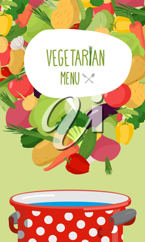 Menu of vegetables. Vegetarian food vector illustration. Concept for restaurant nutrition. Cooking in a pan of useful products