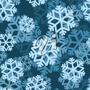 Snowflake seamless pattern. Volumetric snowfall from  Blue Snowflake. Texture for winter holidays of Christmas and new year. Blue snow.