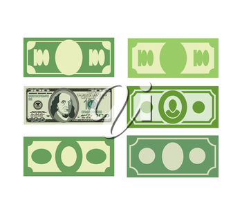 Set Money icon dollars, cash. Various paper money.Vector illustration
