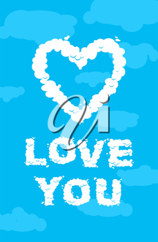 Love you cloud. Symbol of heart of the white clouds on blue heavenly background. Love in heaven