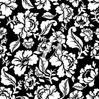 White Rose seamless pattern. Retro floral texture. Vintage Flora ornaments. Floral background. White flowers on dark backdrop.Traditional Russian ornament