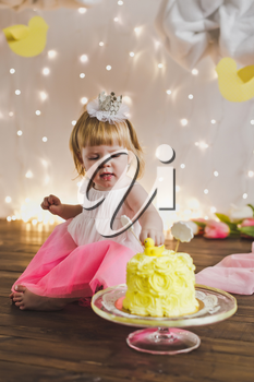 The child celebrates its first birthday.