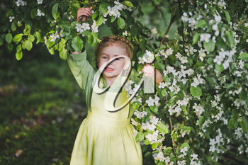 Portrait of a child standing near the branches of the cherry blossoms.