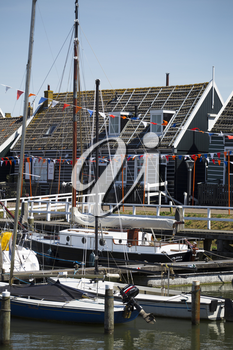 Old fishing green cottages on the island of Marken Netherlands