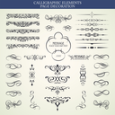 Vector set calligraphic element and page decoration