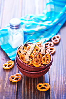 pretzels for beer in the bowl on a table
