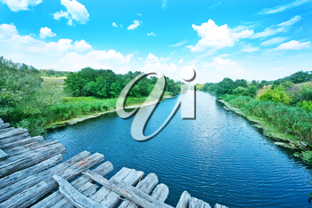River in Ukraine, big river and blue sky