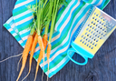 fresh carrot on napkin and on a table