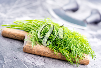 fresh dill on board and on a table
