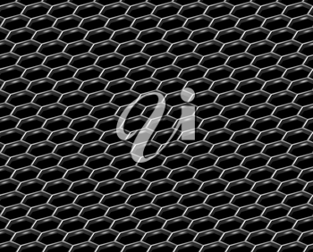 Steel grid with hexagonal holes and reflection on black diagonal view industrial abstract textured seamless background