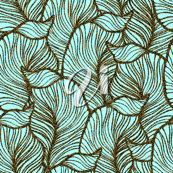 Vector vintage background with seamless leaves pattern and gols glitter sequins EPS 10.