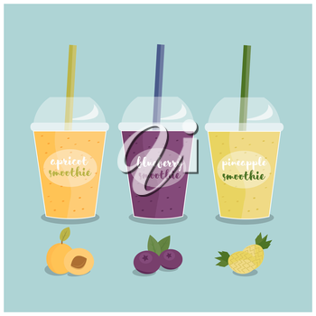 Royalty Free Clipart Image of Three Fruit Smoothies