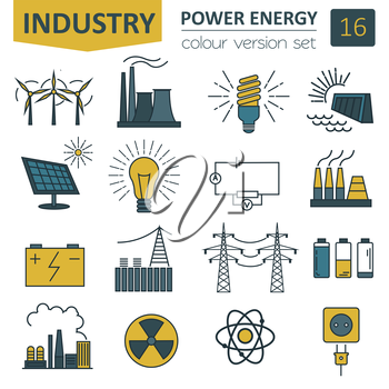 Power energy icon set. Colour version design. Vector illustration