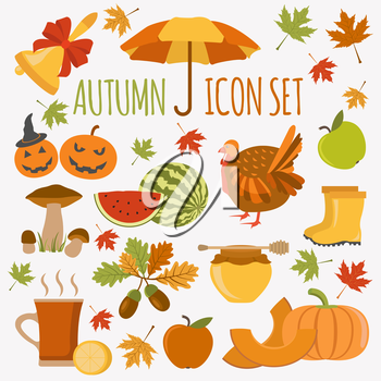 Autumn icon set. Halloween and Thanksgiving day. Flat design. Vector illustration