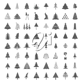 Christmas tree icon set. Flat isolated design. New year winter collection. Vector illustration