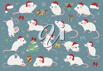 Different mice christmas collection. Mouse poses and exercises. Cute cartoon new year clipart set. Vector illustration