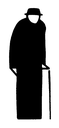 Royalty Free Clipart Image of a Man With a Cane