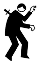 Royalty Free Clipart Image of a Man With a Knife in His Back