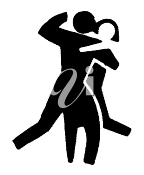 Royalty Free Clipart Image of a Couple Dancing