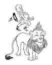 Royalty Free Clipart Image of a Man Jumping on a Lion