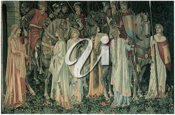 Royalty Free Clipart Image of The Departure of the Knights by Edward Burne-Jones