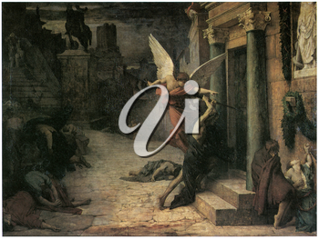 Royalty Free Clipart Image of The Plague in Rome by Jules-Elie Delaunay