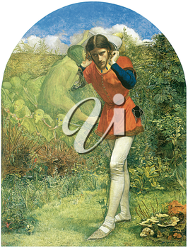Royalty Free Clipart Image of Ferdinand Lured by Ariel by John Everett Milais