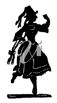 Royalty Free Silhouette Clipart Image of a Woman Dancing in Costume