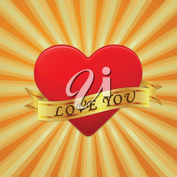 Heart with ribbon and phrase Love You. Vector concept illustration.