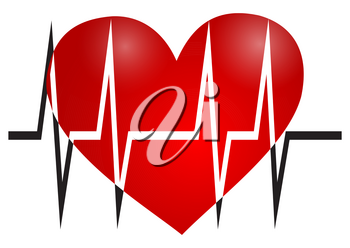 Illustration of the symbols of the heart and cardiogram on white background