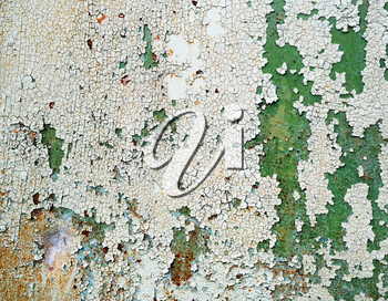 Peeling paint texture with cracks and scratches. Grungy old weathered background.