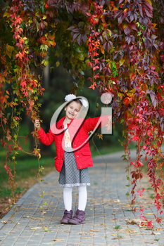 Little girl child in a red jacket with bows on her head. Girl in the park against the backdrop of autumn foliage. Vertical shot.