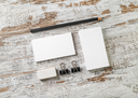 Blank stationery set. Mockup for your design. Responsive design template. Bank business cards, pencil, eraser, badge and sharpener. Top view.