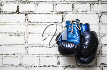 Pair of old blue and black boxing gloves hanging on white brick wall.