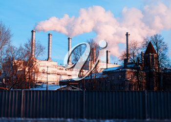 Smoke from heating plant chimneys poison atmosphere background hd
