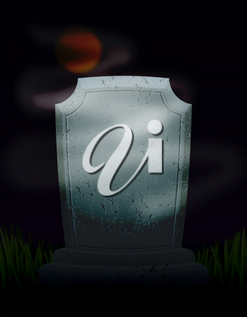 Twilight in cemetery at night. Moon on dark sky. mysterious Ghost Fog and tomb. Old Tombstone. Illustration for halloween scary holiday