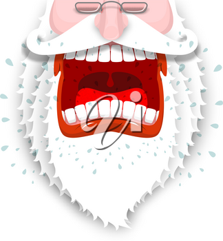 Furious Santa Claus. Anger Santa with big white beard. Cursing and swearing. Flying drooling. Scary bad grandfather. Illustration for Christmas and New Year