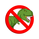 Stop dinosaur. Prohibited tirranozavr Rex. Crossed-aggressive prehistoric reptile. Emblem against ancient predator. Red prohibition sign. Ban angryl beast, animal