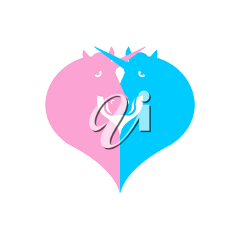 Unicorn symbol LGBT community. Sign of love and two magic animals. Heart and magical beast