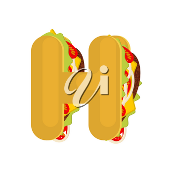 Letter H tacos. Mexican fast food font. Taco alphabet symbol. Mexico meal ABC