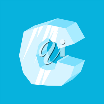letter C ice font. Icicles alphabet. freeze lettering. Iceberg ABC sign