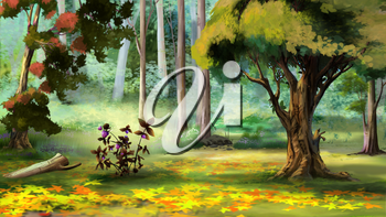 Beautiful view of idyllic landscape with Berry Bush in the Autumn Forest. Digital Painting Background, Illustration.