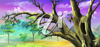 African Tree with Big Hollow against Purple Sky in a African national park. Digital Painting Background, Illustration in cartoon style character.