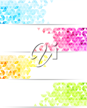 Vector color abstract geometric banner with triangle shapes.