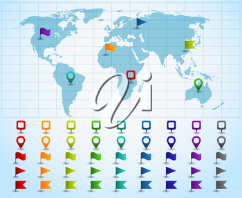 Colored pointers or pins on world map. Vector illustration