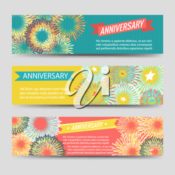 Colorful anniversary celebration banners with fireworks and ribbons. Vector illustration