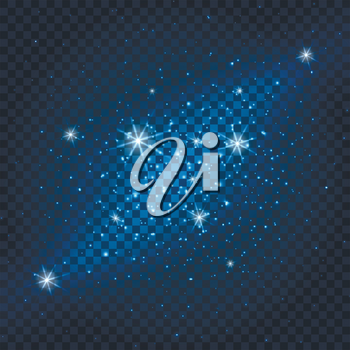 Galaxy sparkly blue background. Glamorous lights and particles on transparent background. Vector illustration