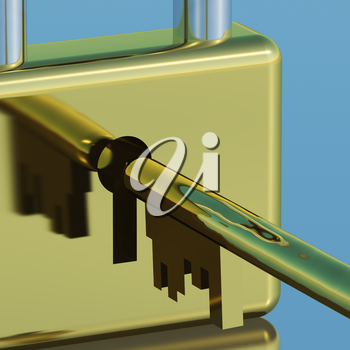 Padlock With Key Close Up Showing Security Protection And Safety